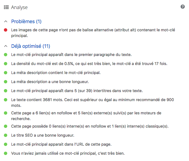 Critère d'optimisation in page SEO