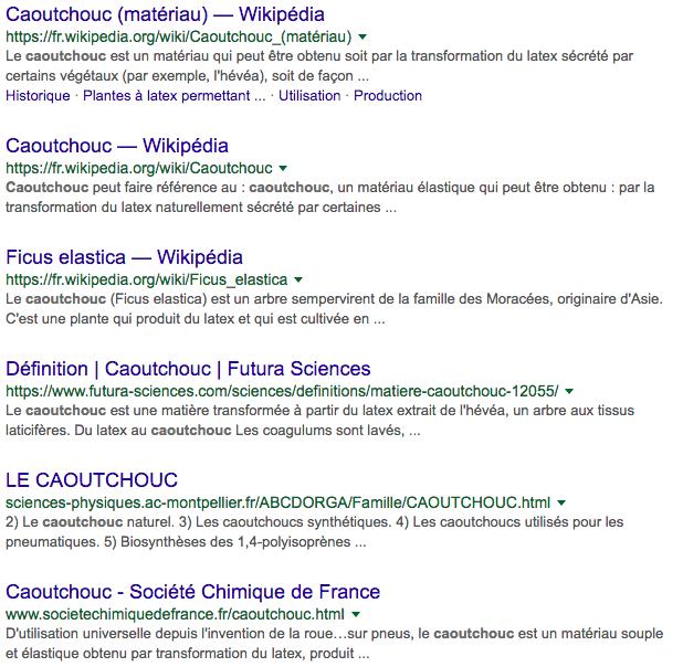 Résultat du positionnement sur les moteurs de recherche